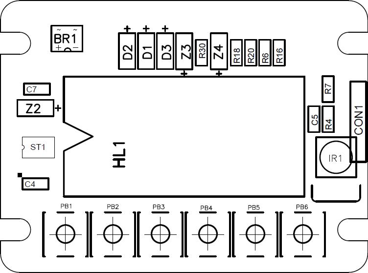 Монтажная схема - верхняя сторона платы.
