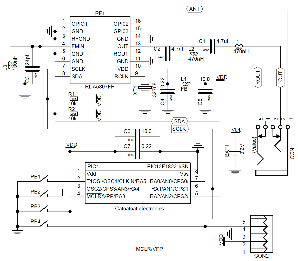 rda5807fp外围电路图
